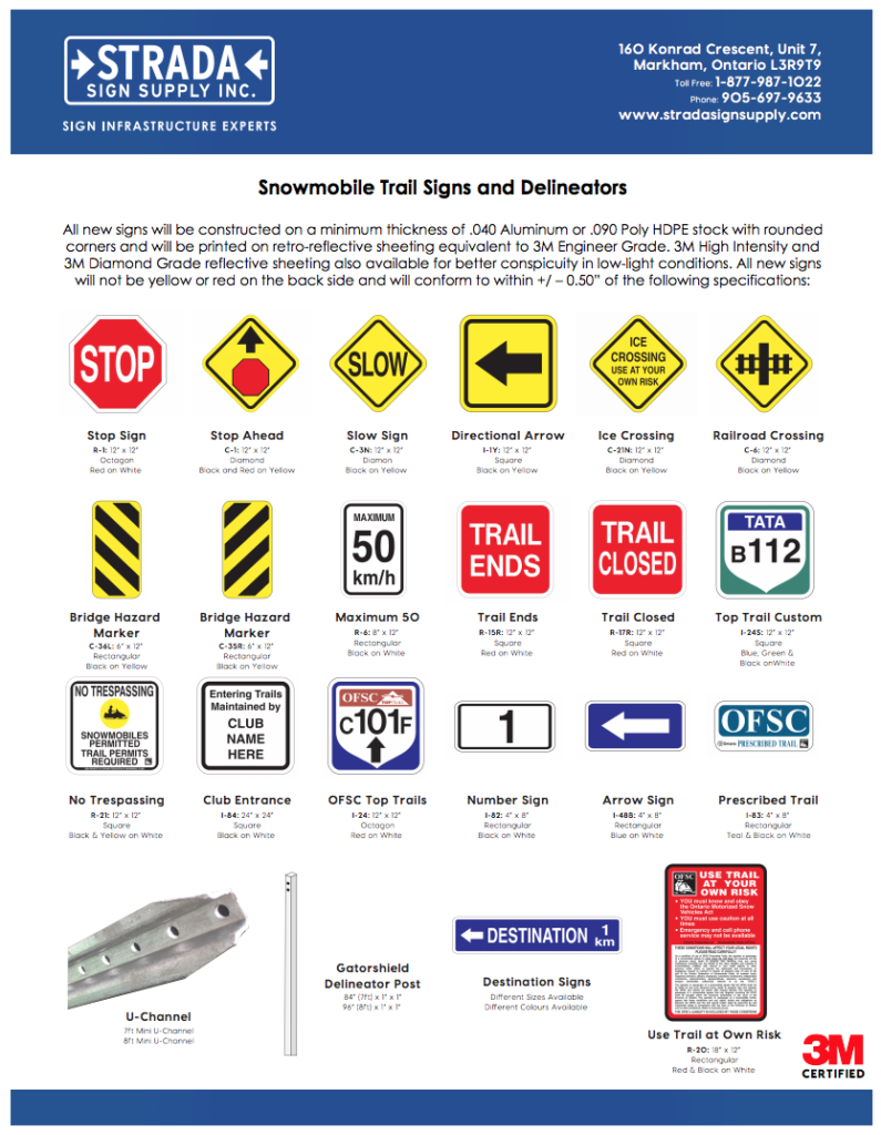 Snowmobile Trail Signage Catalog Preview